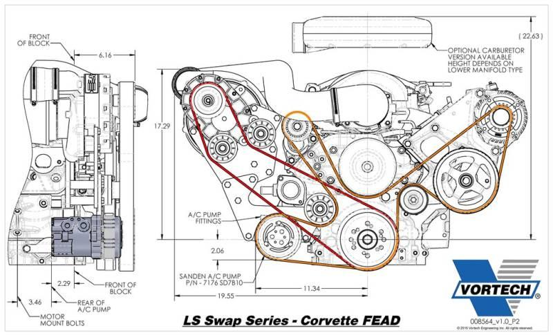 chevrolet c5/c6 corvette fead vortech supercharger - v-3 si ls-swap kit  carbureted