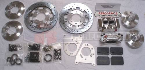 Aerospace Components - Aerospace Ford Mustang Front Pro Street Disc Brakes 1994-2004 Drilled, Slotted, Plated