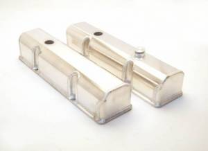 Valve Covers - Canton Racing Products - Canton Chevy SBC Laser Cut Rail Aluminum Valve Covers with Fill/PCV Ports