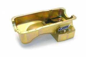 Canton Street/Strip/Road Race Oil Pans - Ford Street/Strip/Road Race Oil Pans - Canton Racing Products - Ford Mustang 289/302 Canton 7 Quart T-Style Rear Sump Oil Pan Black Powdercoated w/o Scraper