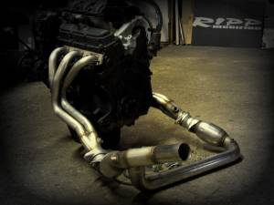 Exhaust - RIPP Superchargers - Jeep JK Wrangler 3.8L 2007-2011 Performance Long Tube Headers with Cats - Hushpower Resonator