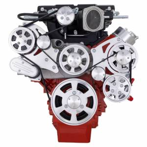CVF Racing - CVF Wraptor Chevy LS Engine Whipple Serpentine Bracket System with Alternator AC and Power Steering - Polished