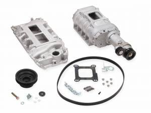 Weiand Superchargers - Chevy Big Block Standard Deck Rectangular Port Weiand - Satin 177 Short Nose Street Supercharger Kit