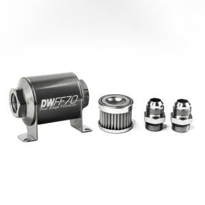 DeatschWerks Fuel Injectors & Pumps - DeatschWerks Fuel Filters - DeatschWerks - DeatshWerks In-Line Universal Fuel Filter Kit - Stainless Steel 5 micron, 10AN, 70mm