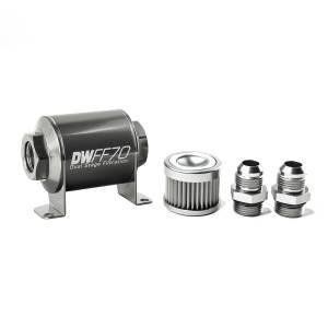 DeatschWerks Fuel Injectors & Pumps - DeatschWerks Fuel Filters - DeatschWerks - DeatshWerks In-Line Universal Fuel Filter Kit - Stainless Steel 10 Micron, 10AN, 70mm