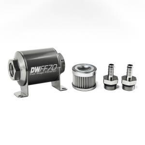 DeatschWerks Fuel Injectors & Pumps - DeatschWerks Fuel Filters - DeatschWerks - DeatshWerks In-Line Universal Fuel Filter Kit - Stainless Steel 10 Micron, 3/8in Hose Barb, 70mm
