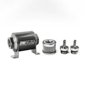 DeatschWerks Fuel Injectors & Pumps - DeatschWerks Fuel Filters - DeatschWerks - DeatshWerks In-Line Universal Fuel Filter Kit - Stainless Steel 10 Micron, 5/16in Hose Barb, 70mm