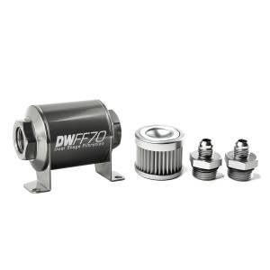 DeatschWerks Fuel Injectors & Pumps - DeatschWerks Fuel Filters - DeatschWerks - DeatshWerks In-Line Universal Fuel Filter Kit - Stainless Steel 10 Micron, 6AN, 70mm
