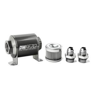 DeatschWerks Fuel Injectors & Pumps - DeatschWerks Fuel Filters - DeatschWerks - DeatshWerks In-Line Universal Fuel Filter Kit - Stainless Steel 10 Micron, 8AN, 70mm