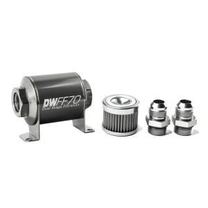 DeatschWerks Fuel Injectors & Pumps - DeatschWerks Fuel Filters - DeatschWerks - DeatshWerks In-Line Universal Fuel Filter Kit - Stainless Steel 40 Micron, 10AN, 70mm