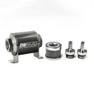 DeatschWerks Fuel Injectors & Pumps - DeatschWerks Fuel Filters - DeatschWerks - DeatshWerks In-Line Universal Fuel Filter Kit - Stainless Steel 40 Micron, 3/8in Hose Barb, 70mm