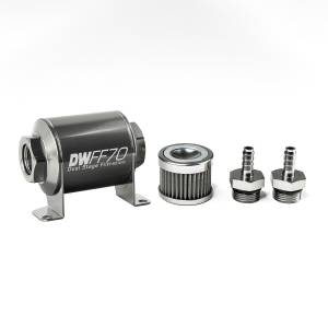DeatschWerks Fuel Injectors & Pumps - DeatschWerks Fuel Filters - DeatschWerks - DeatshWerks In-Line Universal Fuel Filter Kit - Stainless Steel 40 Micron, 5/16in Hose Barb, 70mm