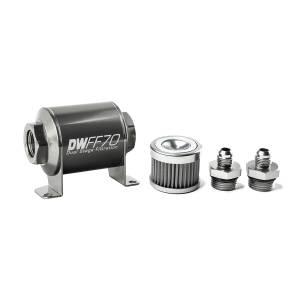 DeatschWerks Fuel Injectors & Pumps - DeatschWerks Fuel Filters - DeatschWerks - DeatshWerks In-Line Universal Fuel Filter Kit - Stainless Steel 40 Micron, 6AN, 70mm