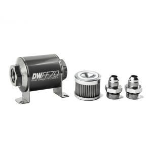 DeatschWerks Fuel Injectors & Pumps - DeatschWerks Fuel Filters - DeatschWerks - DeatshWerks In-Line Universal Fuel Filter Kit - Stainless Steel 40 Micron, 8AN, 70mm