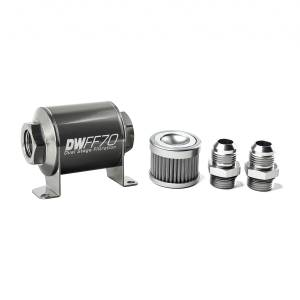 DeatschWerks Fuel Injectors & Pumps - DeatschWerks Fuel Filters - DeatschWerks - DeatshWerks In-Line Universal Fuel Filter Kit - Stainless Steel 100 Micron, 10AN, 70mm