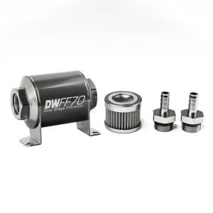 DeatschWerks Fuel Injectors & Pumps - DeatschWerks Fuel Filters - DeatschWerks - DeatshWerks In-Line Universal Fuel Filter Kit - Stainless Steel 100 Micron, 3/8in Hose Barb, 70mm