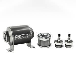 DeatschWerks Fuel Injectors & Pumps - DeatschWerks Fuel Filters - DeatschWerks - DeatshWerks In-Line Universal Fuel Filter Kit - Stainless Steel 100 Micron, 5/16in Hose Barb, 70mm