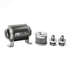 DeatschWerks Fuel Injectors & Pumps - DeatschWerks Fuel Filters - DeatschWerks - DeatshWerks In-Line Universal Fuel Filter Kit - Stainless Steel 100 Micron, 6AN, 70mm