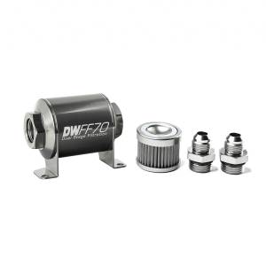 DeatschWerks Fuel Injectors & Pumps - DeatschWerks Fuel Filters - DeatschWerks - DeatshWerks In-Line Universal Fuel Filter Kit - Stainless Steel 100 Micron, 8AN, 70mm