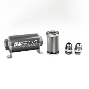 DeatschWerks Fuel Injectors & Pumps - DeatschWerks Fuel Filters - DeatschWerks - DeatshWerks In-Line Universal Fuel Filter Kit - Stainless Steel 5 Micron, 10AN, 110mm