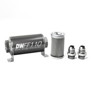 DeatschWerks Fuel Injectors & Pumps - DeatschWerks Fuel Filters - DeatschWerks - DeatshWerks In-Line Universal Fuel Filter Kit - Stainless Steel 10 Micron, 10AN, 110mm