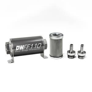 DeatschWerks Fuel Injectors & Pumps - DeatschWerks Fuel Filters - DeatschWerks - DeatshWerks In-Line Universal Fuel Filter Kit - Stainless Steel 10 Micron, 3/8in Hose Barb, 110mm