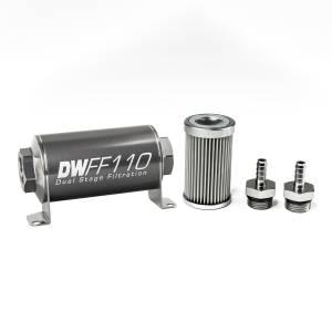 DeatschWerks Fuel Injectors & Pumps - DeatschWerks Fuel Filters - DeatschWerks - DeatshWerks In-Line Universal Fuel Filter Kit - Stainless Steel 10 Micron, 5/16in Hose Barb, 110mm