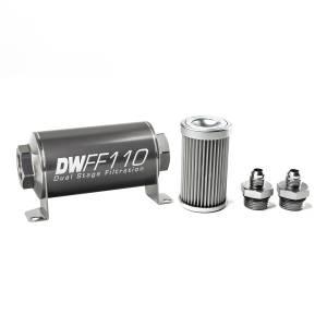 DeatschWerks Fuel Injectors & Pumps - DeatschWerks Fuel Filters - DeatschWerks - DeatshWerks In-Line Universal Fuel Filter Kit - Stainless Steel 10 Micron, 6AN, 110mm