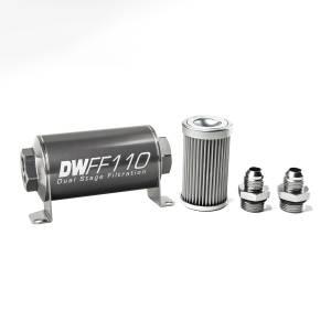 DeatschWerks Fuel Injectors & Pumps - DeatschWerks Fuel Filters - DeatschWerks - DeatshWerks In-Line Universal Fuel Filter Kit - Stainless Steel 10 Micron, 8AN, 110mm
