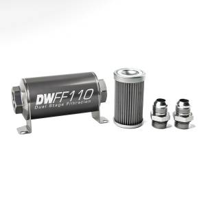 DeatschWerks Fuel Injectors & Pumps - DeatschWerks Fuel Filters - DeatschWerks - DeatshWerks In-Line Universal Fuel Filter Kit - Stainless Steel 40 Micron, 10AN, 110mm