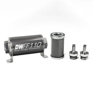 DeatschWerks Fuel Injectors & Pumps - DeatschWerks Fuel Filters - DeatschWerks - DeatshWerks In-Line Universal Fuel Filter Kit - Stainless Steel 40 Micron, 3/8in Hose Barb, 110mm