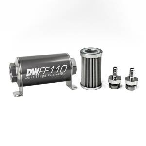 DeatschWerks Fuel Injectors & Pumps - DeatschWerks Fuel Filters - DeatschWerks - DeatshWerks In-Line Universal Fuel Filter Kit - Stainless Steel 40 Micron, 5/16in Hose Barb, 110mm