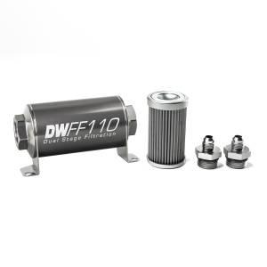 DeatschWerks Fuel Injectors & Pumps - DeatschWerks Fuel Filters - DeatschWerks - DeatshWerks In-Line Universal Fuel Filter Kit - Stainless Steel 40 Micron, 6AN, 110mm