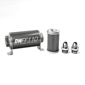 DeatschWerks Fuel Injectors & Pumps - DeatschWerks Fuel Filters - DeatschWerks - DeatshWerks In-Line Universal Fuel Filter Kit - Stainless Steel 40 Micron, 8AN, 110mm