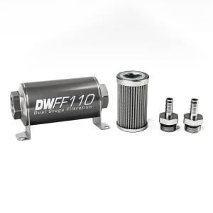 DeatschWerks Fuel Injectors & Pumps - DeatschWerks Fuel Filters - DeatschWerks - DeatshWerks In-Line Universal Fuel Filter Kit - Stainless Steel 100 Micron, 3/8in Hose Barb, 110mm