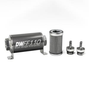 DeatschWerks Fuel Injectors & Pumps - DeatschWerks Fuel Filters - DeatschWerks - DeatshWerks In-Line Universal Fuel Filter Kit - Stainless Steel 100 Micron, 5/16in Hose Barb, 110mm