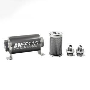 DeatschWerks Fuel Injectors & Pumps - DeatschWerks Fuel Filters - DeatschWerks - DeatshWerks In-Line Universal Fuel Filter Kit - Stainless Steel 100 Micron, 6AN, 110mm