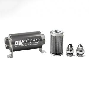 DeatschWerks Fuel Injectors & Pumps - DeatschWerks Fuel Filters - DeatschWerks - DeatshWerks In-Line Universal Fuel Filter Kit - Stainless Steel 100 Micron, 8AN, 110mm