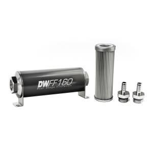 DeatschWerks Fuel Injectors & Pumps - DeatschWerks Fuel Filters - DeatschWerks - DeatshWerks In-Line Universal Fuel Filter Kit - Stainless Steel 10 micron, 3/8in Hose Barb, 160mm