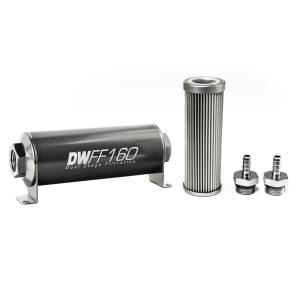 DeatschWerks Fuel Injectors & Pumps - DeatschWerks Fuel Filters - DeatschWerks - DeatshWerks In-Line Universal Fuel Filter Kit - Stainless Steel 10 micron, 5/16in Hose Barb, 160mm