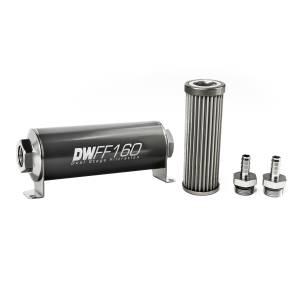 DeatschWerks Fuel Injectors & Pumps - DeatschWerks Fuel Filters - DeatschWerks - DeatshWerks In-Line Universal Fuel Filter Kit - Stainless Steel 40 micron, 3/8in Hose Barb, 160mm