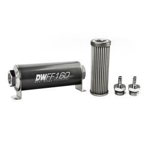 DeatschWerks Fuel Injectors & Pumps - DeatschWerks Fuel Filters - DeatschWerks - DeatshWerks In-Line Universal Fuel Filter Kit - Stainless Steel 40 micron, 5/16in Hose Barb, 160mm