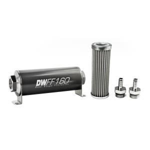 DeatschWerks Fuel Injectors & Pumps - DeatschWerks Fuel Filters - DeatschWerks - DeatshWerks In-Line Universal Fuel Filter Kit - Stainless Steel 100 micron, 3/8in Hose Barb, 160mm