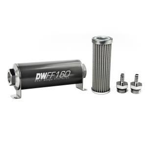DeatschWerks Fuel Injectors & Pumps - DeatschWerks Fuel Filters - DeatschWerks - DeatshWerks In-Line Universal Fuel Filter Kit - Stainless Steel 100 micron, 5/16in Hose Barb, 160mm