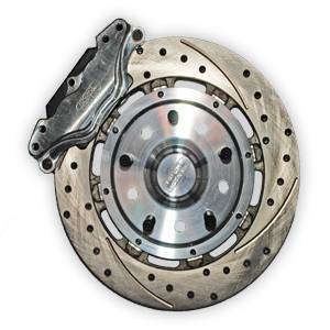 Brakes - Aerospace Components Front Floater 2 Piston Disc Brakes - Aerospace Components - Aerospace Ford Mustang Front 2 Piston Floater Pro Street Disc Brakes 1979-1993 4 Lug Drilled, Slotted, Plated
