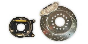 Brakes - Aerospace Components Rear Street Disc Brakes w/ Parking Brake - Aerospace Components - Aerospace Torino New Style Ford Rear Pro Street Disc Brakes Drilled, Slotted, Zinc Plated