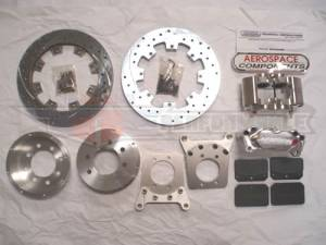 Brakes - Aerospace Components - Aerospace Ford 8.8 Rear Pro Street Disc Brakes 4 Lug w/ Stock Axle Drilled, Slotted, Plated