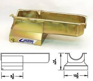 "Canton Drag Race Oil Pans - Canton Chevy Drag Race Pans - Canton Racing Products - Canton ""T"" Sump Drag Race Chevy SBC pre-80 Blocks w/ Left Side Dipstick Oil Pan"