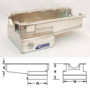 Canton Drag Race Oil Pans - Canton Ford Drag Race Pans - Canton Racing Products - Ford Aluminum 289-302 Block Front Sump Drag Race Oil Pan